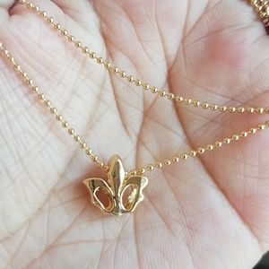 Tiny crown necklace. 18k GF chain. New